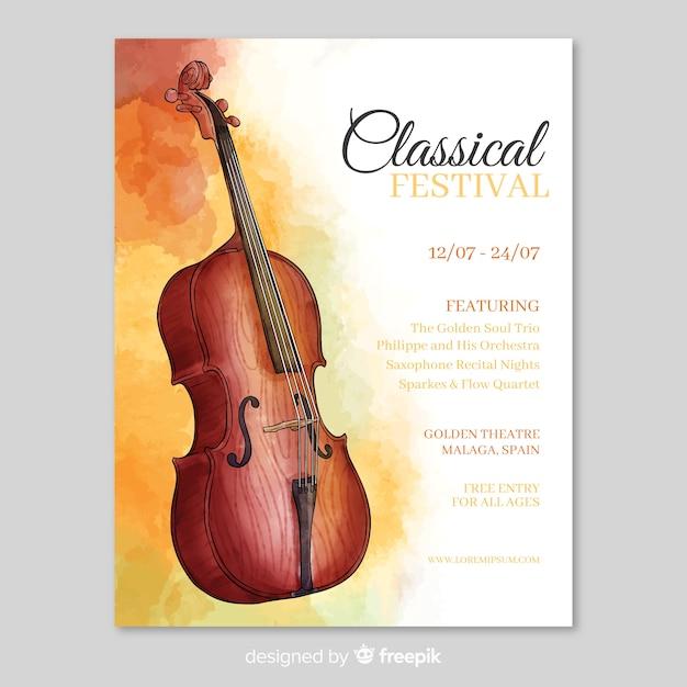Aquarel muziek festival poster sjabloon Gratis Vector
