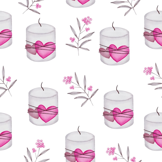 Aquarel naadloze patroon van liefde concept, geïsoleerde aquarel valentijn concept element mooie romantische rood-roze harten voor decoratie, illustratie. Gratis Vector