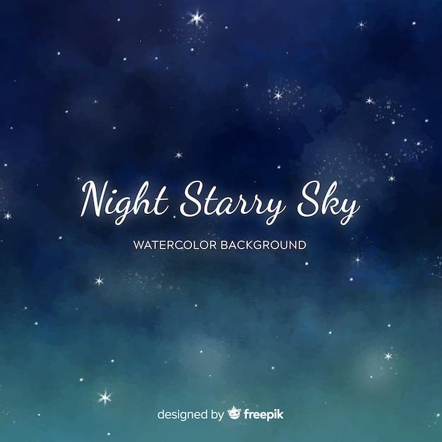 Aquarel nachtelijke hemelachtergrond Gratis Vector