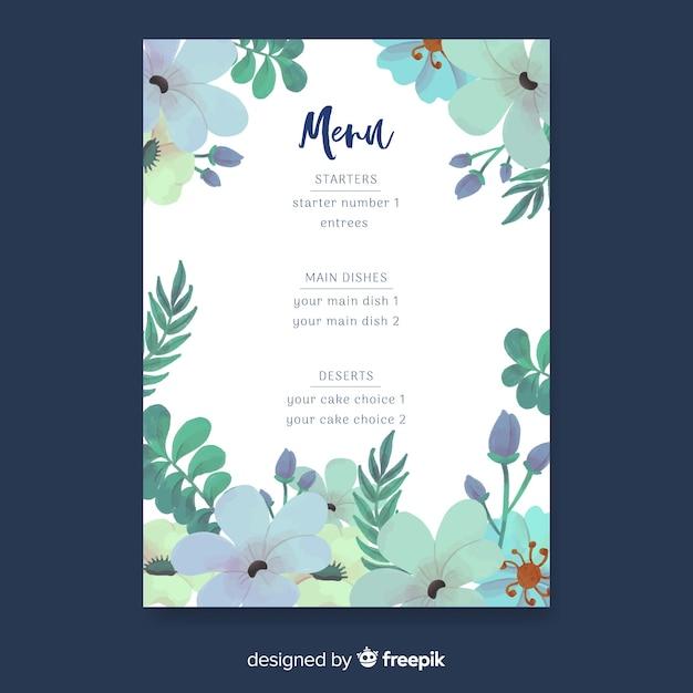 Aquarel natuur bruiloft menusjabloon Gratis Vector