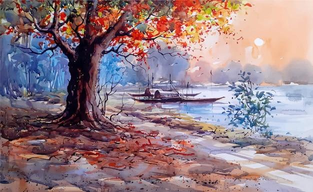 Aquarel natuur landschap schets op hand getrokken illustratie Premium Vector