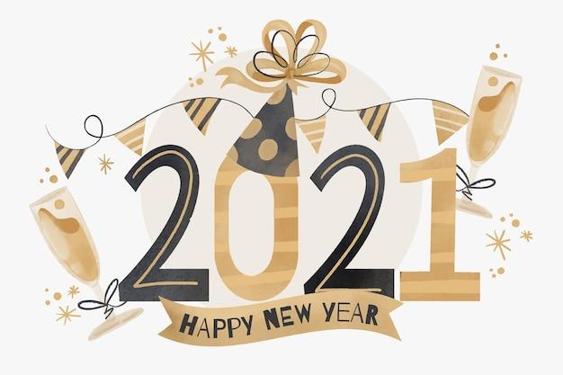 Aquarel nieuwjaar 2021 Gratis Vector