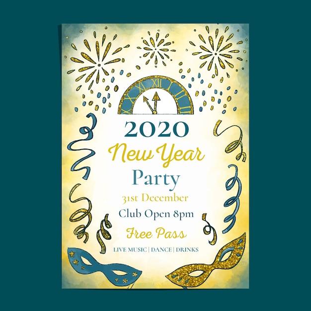 Aquarel nieuwjaarsjabloon voor het feest van de partij 2020 Gratis Vector