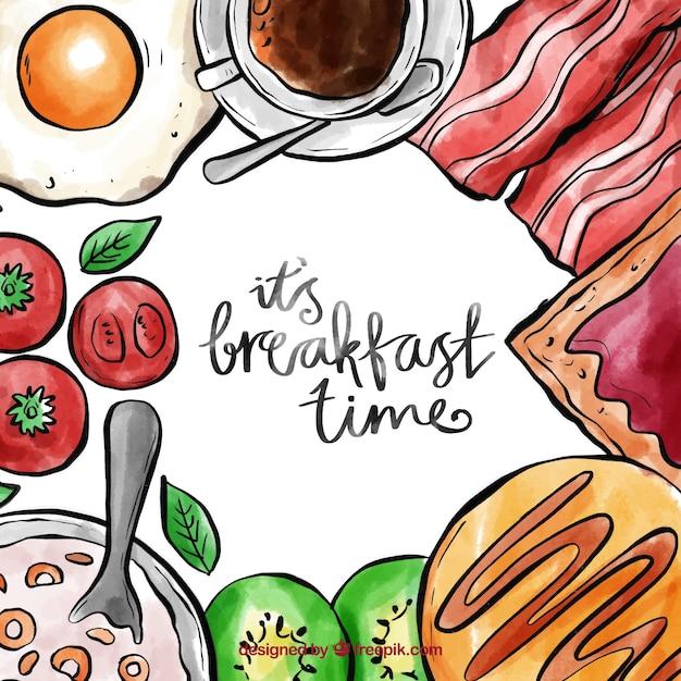 Aquarel ontbijtkader Gratis Vector