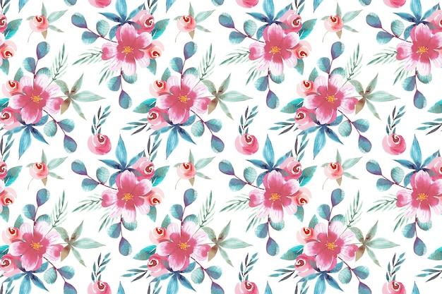 Aquarel ontwerp bloemmotief Gratis Vector