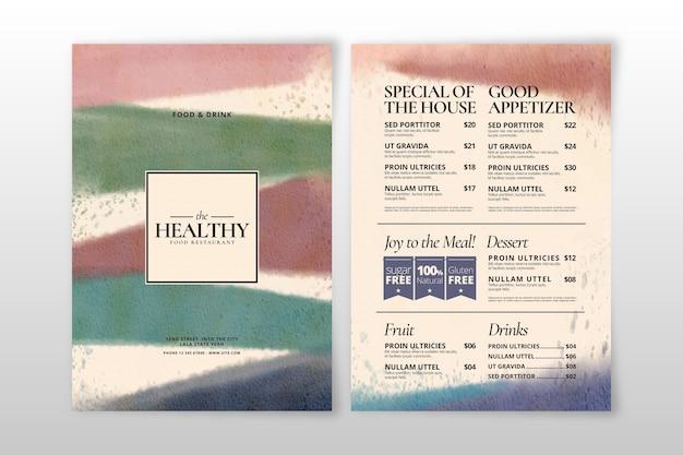 Aquarel ontwerp gezond voedselmenu Gratis Vector