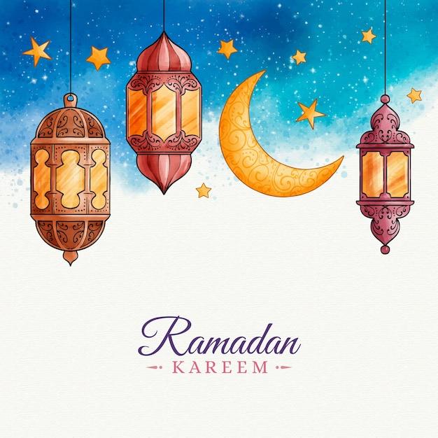 Aquarel ontwerp ramadan feest Gratis Vector
