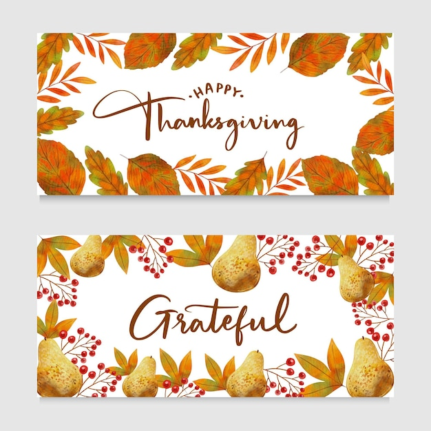Aquarel ontwerp thanksgiving banners Gratis Vector