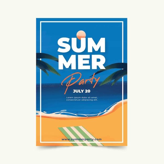 Aquarel ontwerp zomerfeest poster Gratis Vector