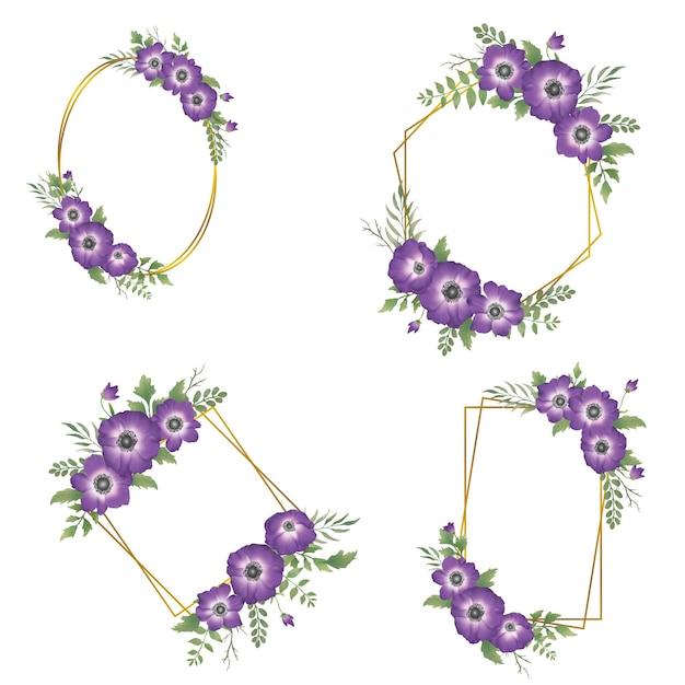 Aquarel paarse bloem frame met gouden rand Premium Vector