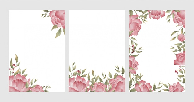 Aquarel peony bloem frame achtergrond Premium Vector