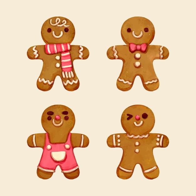 Aquarel peperkoek man cookie collectie Gratis Vector