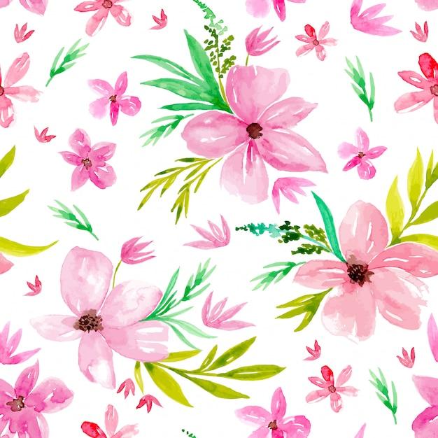 Aquarel poppy bloemen naadloze patroon Premium Vector