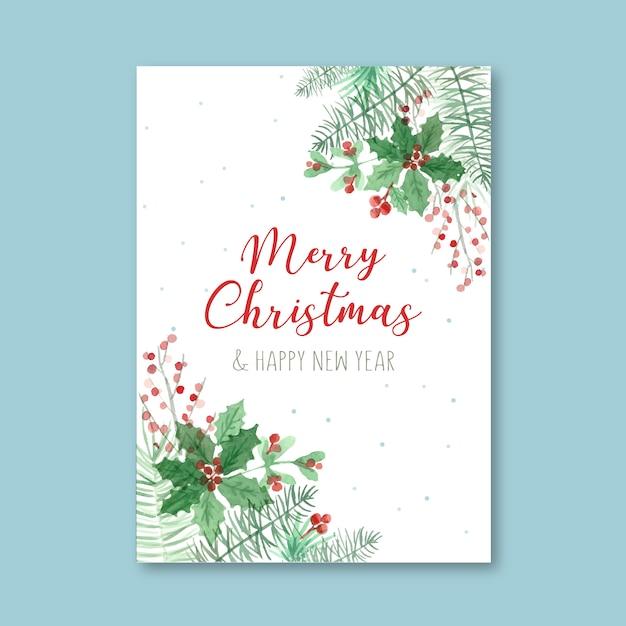 Aquarel poster sjabloon voor kerstmis Gratis Vector