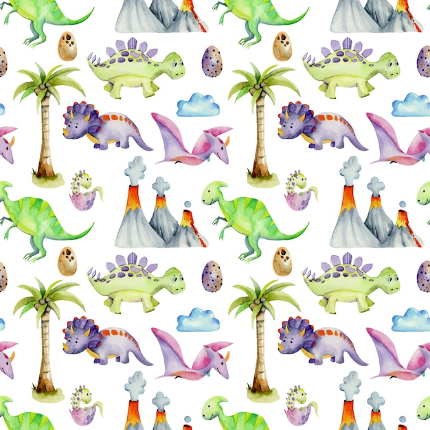 Aquarel prehistorische dinosaurussen naadloze patroon Premium Vector