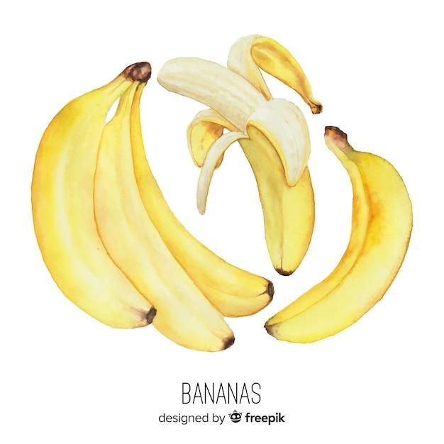 Aquarel realistische banaan achtergrond Gratis Vector