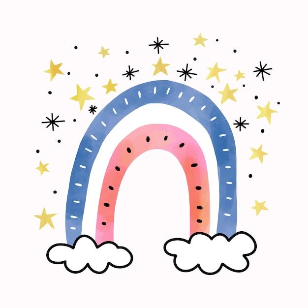 Aquarel regenboog in wolken met sterren Gratis Vector
