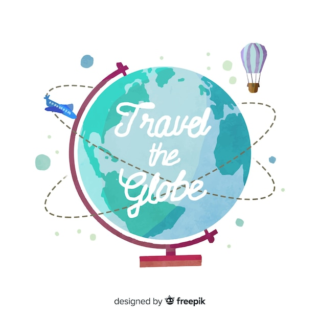 Aquarel reizen achtergrond met een wereldbol aarde Gratis Vector