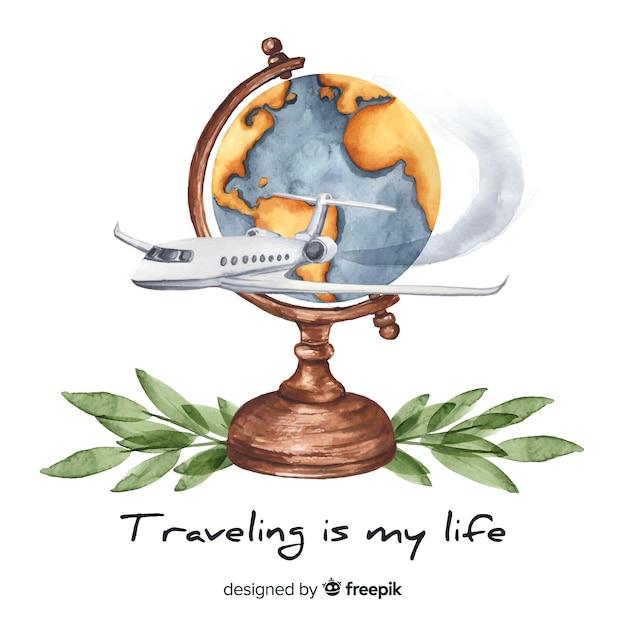 Aquarel reizen achtergrond met motiverende citaat Gratis Vector