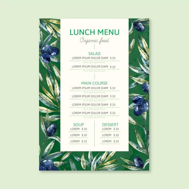 Aquarel restaurant menusjabloon concept Gratis Vector