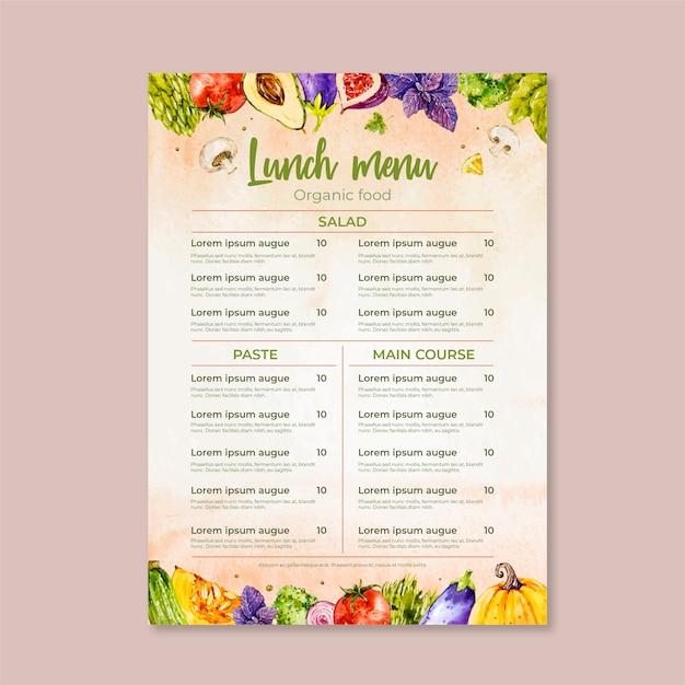 Aquarel restaurant menusjabloon thema Gratis Vector