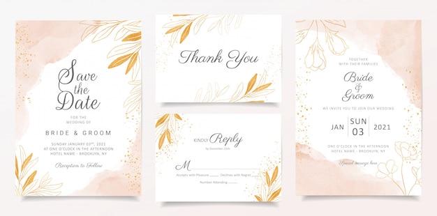 Aquarel romige bruiloft uitnodiging kaartsjabloon ingesteld met gouden bloemendecoratie. Premium Vector