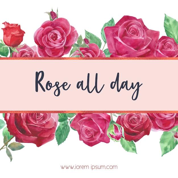 Aquarel rose bloemen kaart Gratis Vector