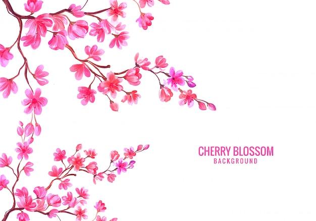 Aquarel roze bloemen cherry blossom achtergrond Gratis Vector