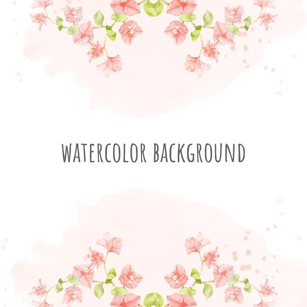 Aquarel roze bougainvillea op roze splash vierkante banner achtergrond voor bruiloft of verjaardag uitnodigingskaart Premium Vector