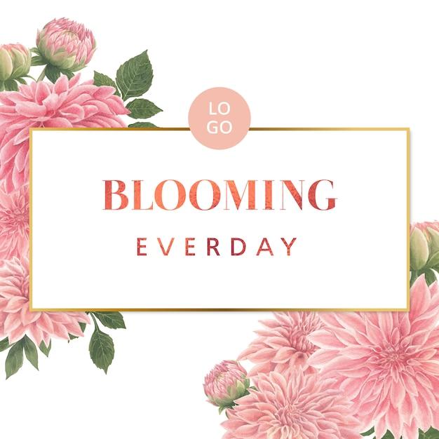Aquarel roze dalia bloemen kaart Gratis Vector