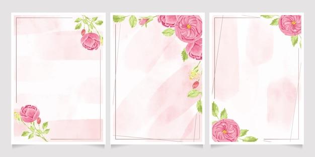 Aquarel roze engelse roos met frame, uitnodiging kaartsjabloon collectie Premium Vector