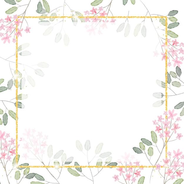 Aquarel roze kleine bloemtak met gouden glitter vierkante frame achtergrond voor banner Premium Vector