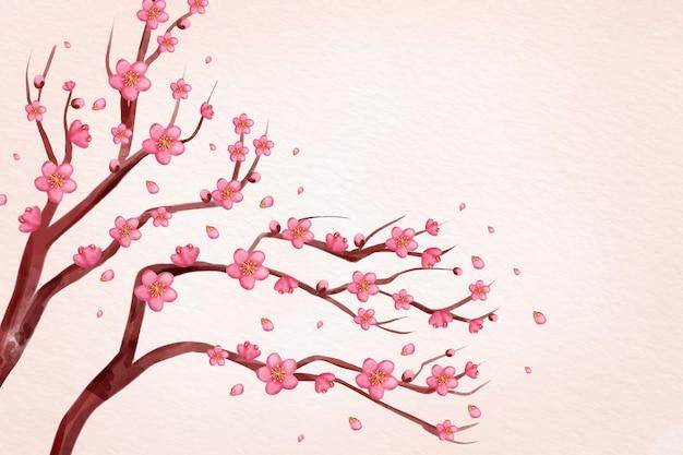 Aquarel roze pruim bloesem achtergrond Gratis Vector