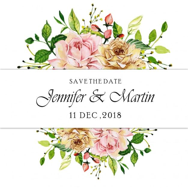 Aquarel roze roos bloemen bruiloft uitnodigingskaart Premium Vector