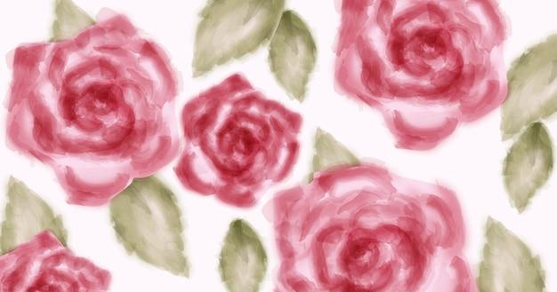 Aquarel roze rozen met gouden glitters Premium Vector