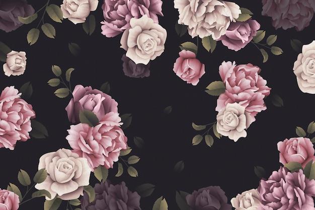 Aquarel rozen behang Gratis Vector