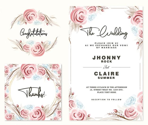 Aquarel rozen bruiloft uitnodigingskaart & frame Premium Vector