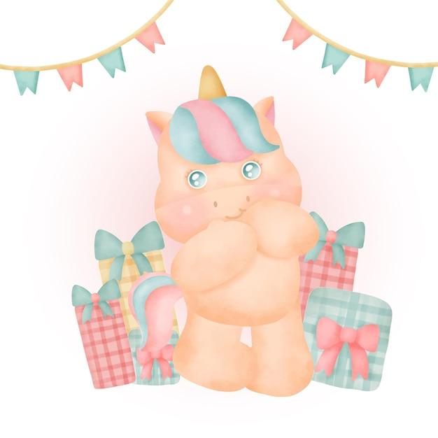 Aquarel schattig eenhoorn feest met geschenkdozen. Premium Vector
