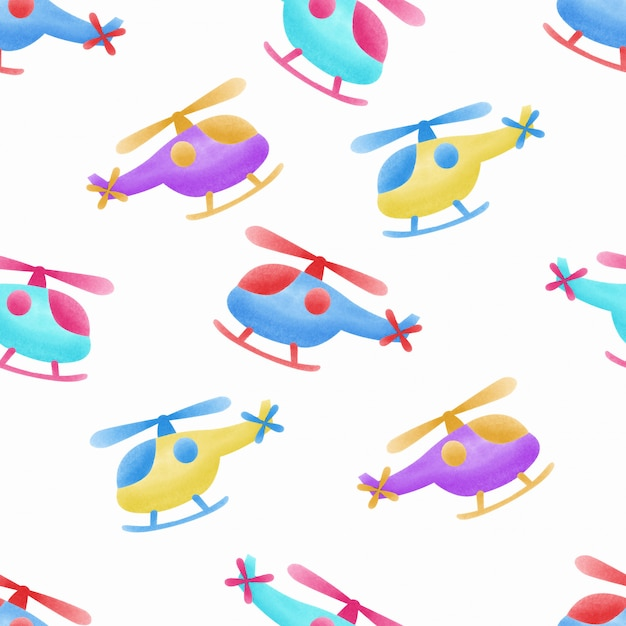 Aquarel schattige helikopter kinderen naadloze patroon Premium Vector