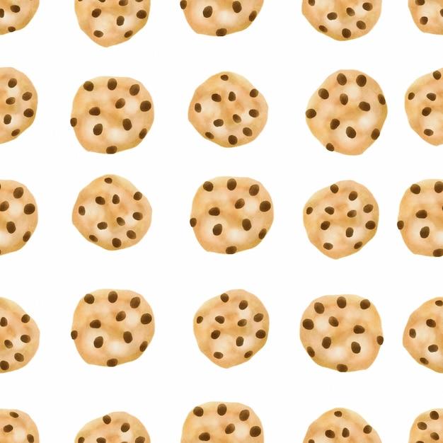 Aquarel schattige koekjes naadloze patroon chocoladeschilferkoekje Premium Vector