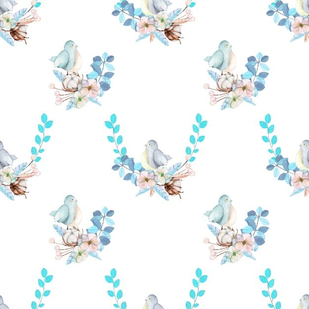 Aquarel schattige vogel en blauwe bloemen naadloze patroon Premium Vector