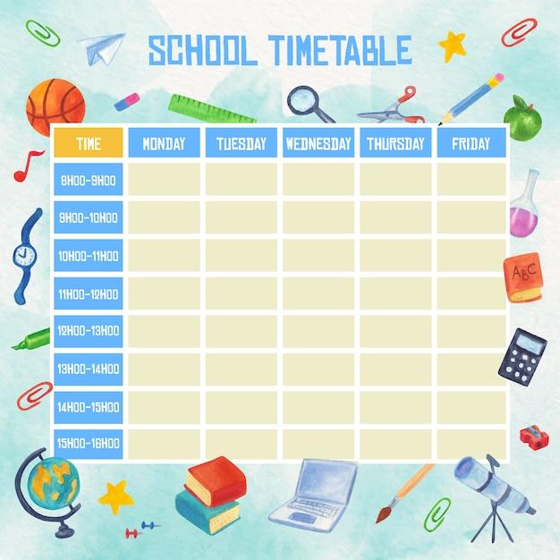 Aquarel school tijdschema met boeken en pennen Gratis Vector