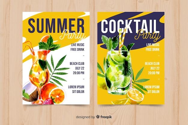 Aquarel seizoensgebonden poster sjabloon collectie Gratis Vector