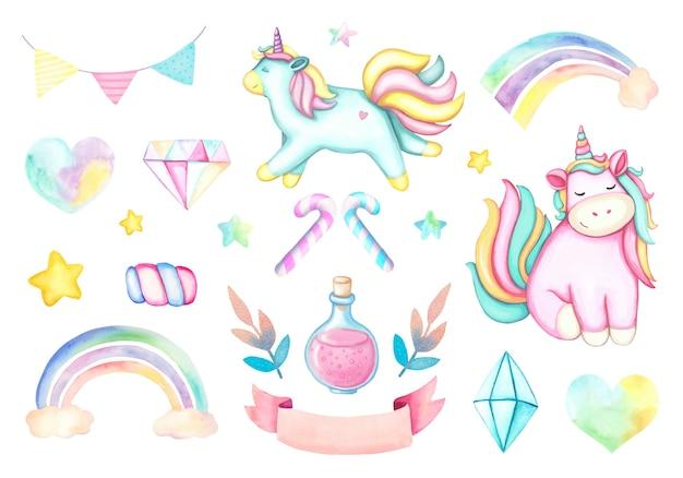 Aquarel set roze cartoon eenhoorn, regenbogen, kristallen, roze lint, gele en roze sterren Premium Vector