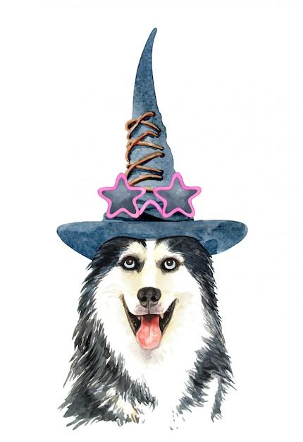 Aquarel siberische husky hond met heksenhoed Premium Vector