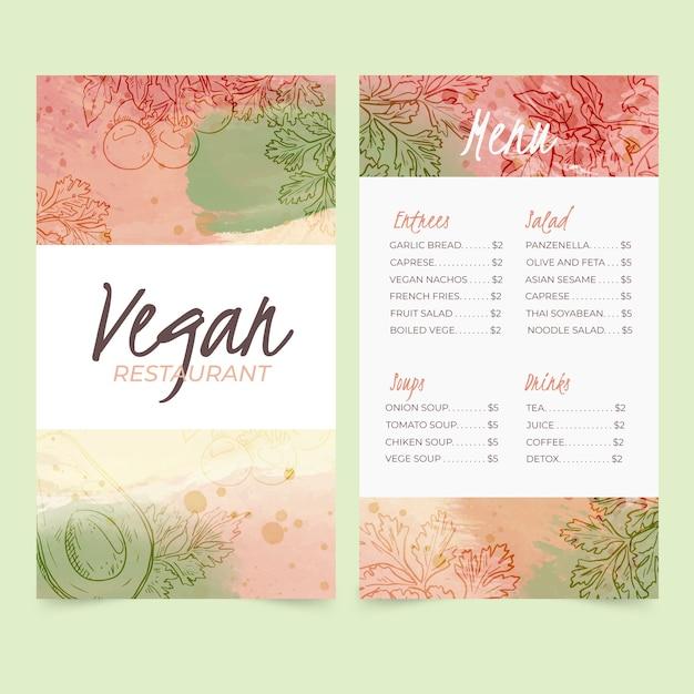 Aquarel sjabloon gezonde voeding restaurant menu Gratis Vector