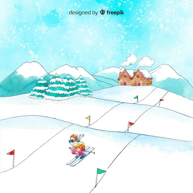 Aquarel ski-station illustratie Gratis Vector