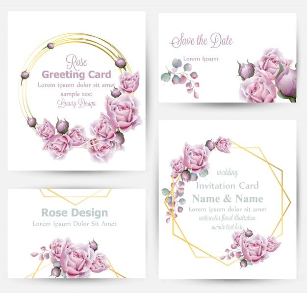 Aquarel steeg bloemen kaarten collectie Premium Vector