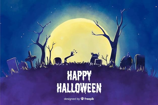 Aquarel stijl achtergrond voor halloween Gratis Vector