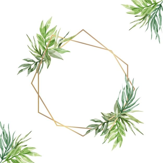 Aquarel stijl bladeren met gouden frame Gratis Vector